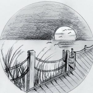 Very easy scenary drawing tutorial with pencil // how to draw scenary in a circle - step by step